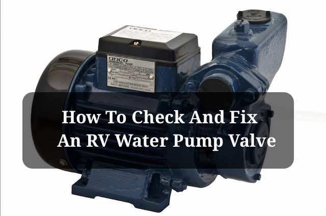 RV water pump check valve
